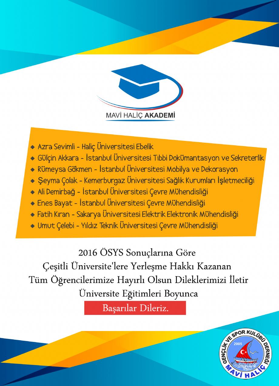 Üniversite Başarılarımız - MAVİ HALİÇ Gençlik ve Spor Kulübü Derneği | Mavi Haliç